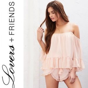 NWT Lovers + Friends peach cold shoulder top